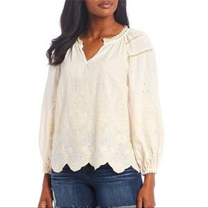 DEMOCRACY Embroidered Crochet Splicing Woven Top